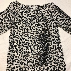 White House Black Market leopard print blouse